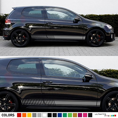 2x Decal Sticker Vinyl Side Racing Stripes Compatible with Volkswagen VW Golf GTI MK6/A6 2009Ð2012