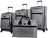 Nicole Miller Taylor Set of 4: Box Bag, 20'', 24'', 28'' Spinner Luggages (Blue Plaid)