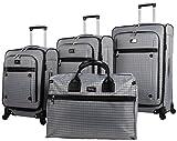 "Nicole Miller Taylor Set of 4: Box Bag, 20"", 24"", 28"" Spinner Luggages"