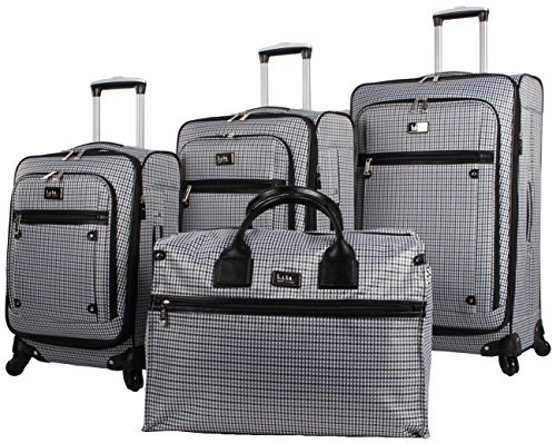 Nicole Miller Taylor Set of 4: Box Bag, 20'', 24'', 28'' Spinner Luggages (Blue Plaid) by Nicole Miller