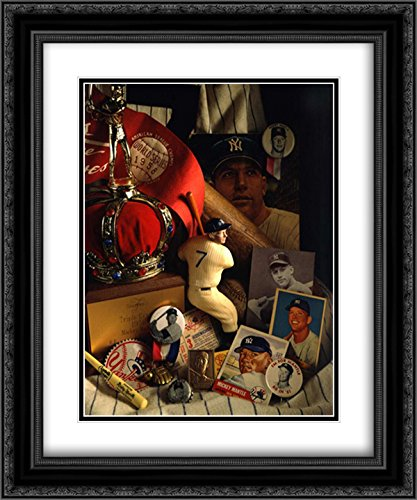 Mickey Mantle Mementos 15x18 Black Ornate Frame and Double Matted Art Print by Spindel, David ()