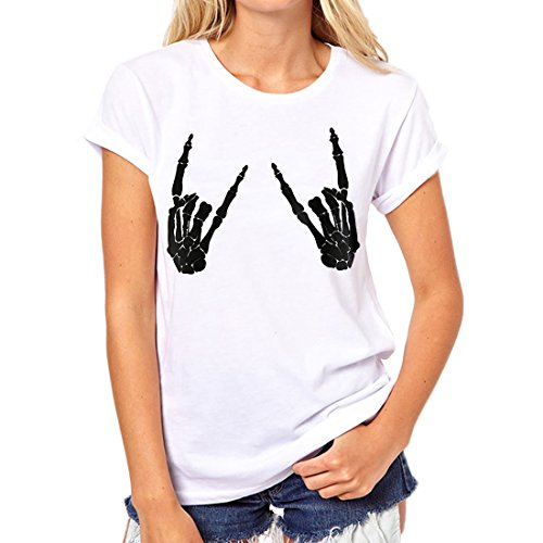 Weigou Women T Shirt Skull Finger Printed T-Shirt Halloween Skeleton Graphic Top Tee Junior Shirt T (M, -