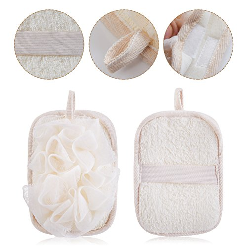 mikimini Bath Mitt for Women, Bath Pouf Mesh Brushes 2 Packs Set | Loofah Sponge & Exfoliating Pad 2 in 1 Professional Design | Exfoliating Gently with the Elastic Hand Strap or Wearing the Mitten by mikimini (Image #2)