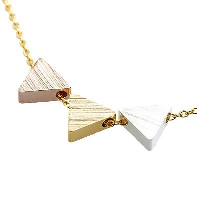 e879d24745f4 LuckyLy – Collares de Bisuteria - Collar Ariane con Dijes Triangulares –  Color Oro