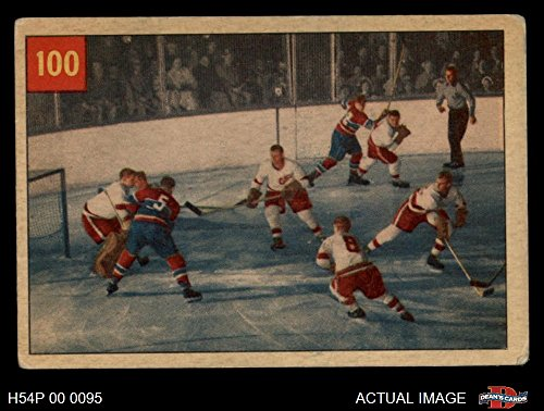 - 1954 Parkhurst # 100 Sawchuk Stops Boom Boom Terry Sawchuk/Bernard Geoffrian Red Wings/Canadiens (Hockey Card) Dean's Cards 3 - VG Red Wings/Canadiens