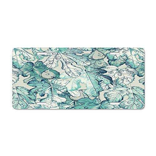 (FloralFlames Fig Leaf Fancy - A Pattern in Teal and GreyFunny License Plate Cover Buckle Up, Lovely Designed Decorative Metal Car License Plate Auto Tag)
