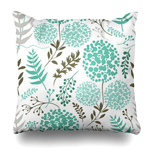 iDecorDesign Throw Pillow Covers Gray Blossom Abstract Floral Blue Green Color Pattern Teal Botany Branch Flower Forest Garden Home Decor Pillow Case Square Size 20 x 20 Inches Pillowcase ()
