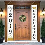 Graduation Porch Sign - Class of 2019 & Congrats Graduation Hanging Banner Set For Outdoor/Indoor Home Front Door Wall Graduation Party Decoration