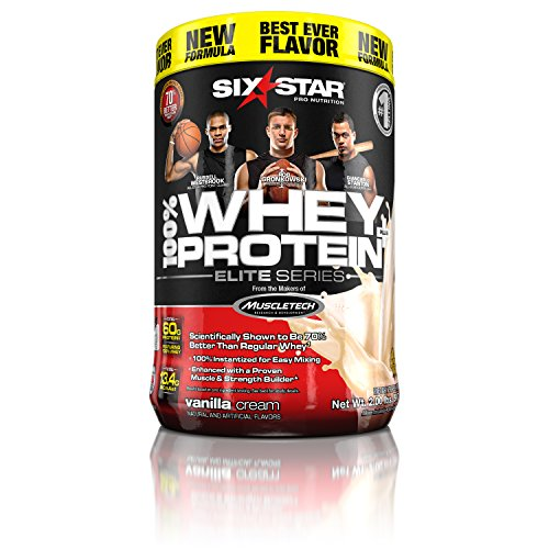 Six Star Pro Nutrition 100% Whey Protein Plus, 32g Ultra-Pure Whey Protein Powder, Vanilla, 2 Pound (Pure Nutrition Whey Protein)