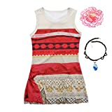 Little Girls Cartoon Digital Print Princess Moana Costume Dress Outfit with Necklace Flower for Christmas Dress up (5, Sleeveless Dress)