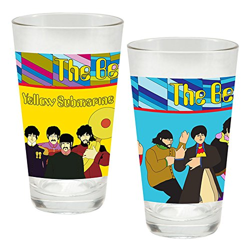 Vandor The Beatles Yellow Submarine 2 Piece 16 Ounce Laser Decal Glass Set (Beatles Glasses)
