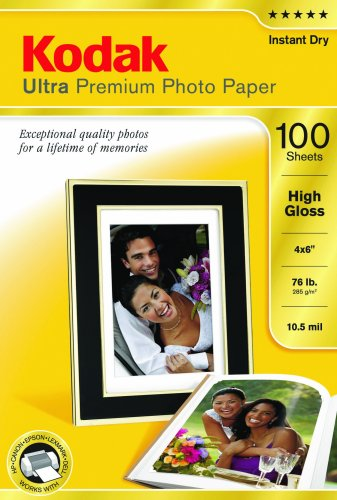 Kodak Ultra Premium Photo Paper, 4 x 6 Inches, High Gloss, 100 sheets (1833987) by Kodak