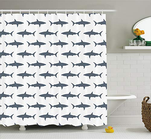 Ambesonne Sea Animals Shower Curtain, Sharks Swimming Horizontal Silhouettes Powerful Dangerous Wild Life, Cloth Fabric Bathroom Decor Set with Hooks, 70 Inches, Charcoal Grey