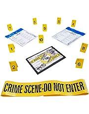 Kobe1 Crime Scene Kit:Crime Scene Tape Do Not Enter (6mx1),Evidence Bags (x2),Photo Evidence Frames(Cards:1 to 10),(7cm x 4cm Folded)
