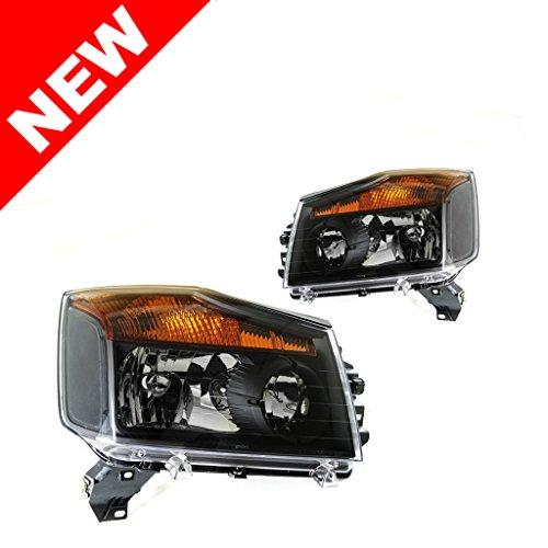 SB MULTILINE TRADING Fit 04-15 Nissan Titan 04-07 Armada Diamond Black Headlights Head Lamps Pair ()