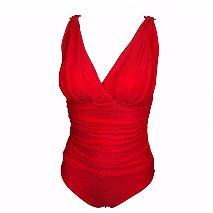 Amazon.com: Traje de baño rojo retro vintage para playa ...