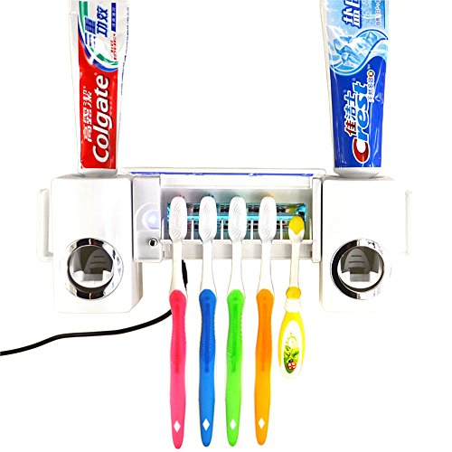 Automatic Toothpaste Dispenser and Tooth Brush Holder Set UV Light Toothbrush Sanitizer Sterilizer Kit with Toothpaste Dispenser 5 Toothbrush Holders for Adults and Children (White )