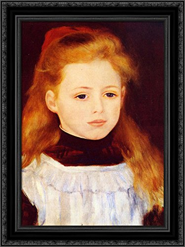 Little Girl in a White Apron (Portrait of Lucie Berard) 20x24 Black Ornate Wood Framed Canvas Art by Renoir, Pierre Auguste ()