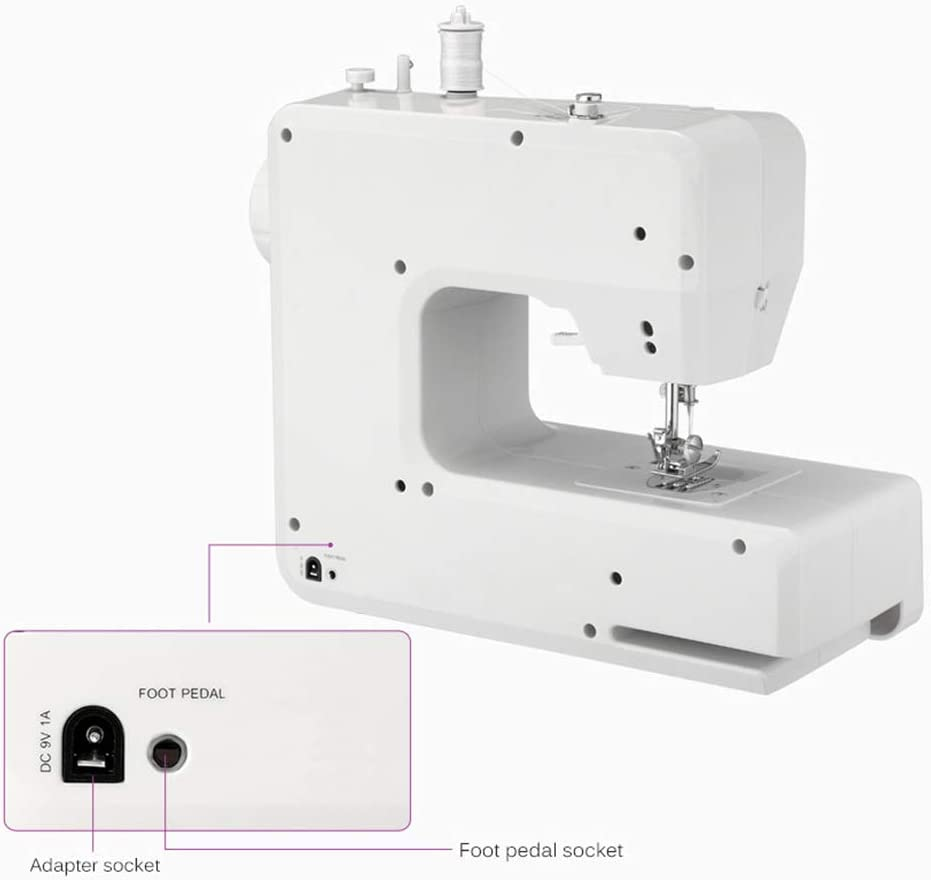 Household Portable Electric Sewing Machine Portable Mini with 12 Different Stitches for Fabric AODD Sewing Machine DIY Black Clothing Home Travel Easy Operation Fabric Sewing Durable