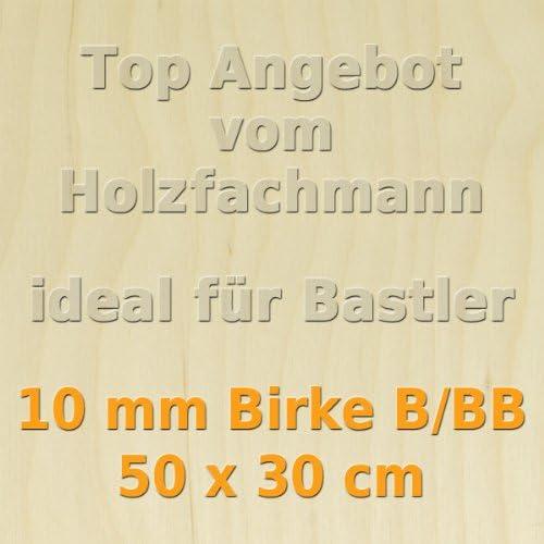 PiHaMi/® 10mm Birke Sperrholzplatte Qualit/ät B//BB 50 x 30cm GP 66,60 /€//m/²