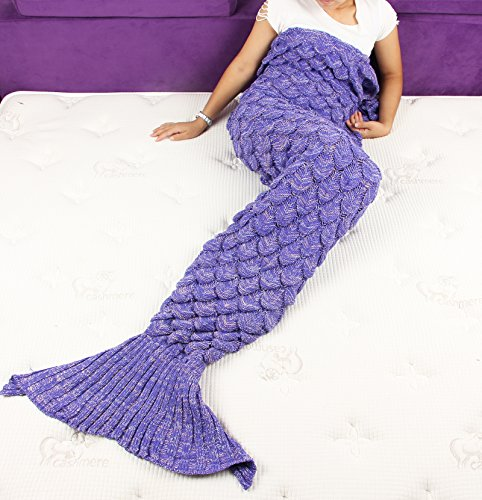 Sun Cling Crochet Mermaid Tail Blanket with Sleeping Bags, 70.7-by-35.4-Inch – Purple