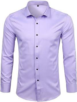 YFSLC-Studio Camisa De Manga Larga Hombre,Púrpura Claro Mens De Fibra De Bambú Vestir Camisas Slim Fit Larga SleeveCasual Abajo Elásticos Cómodos Formal Camisa Masculina: Amazon.es: Deportes y aire libre