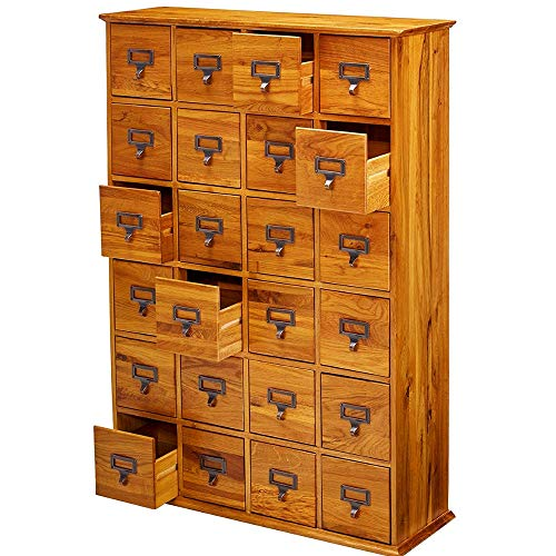 Cabinet Media Style Library - BS Multimedia Storage Cabinet Oak Access Chest 24 Drawers Vintage Retro Library Card Catalogs 456 CD's 192 DVD's Hardwood File Cabinet Organizer Home Office Furniture Indoor & eBook by BADA Shop