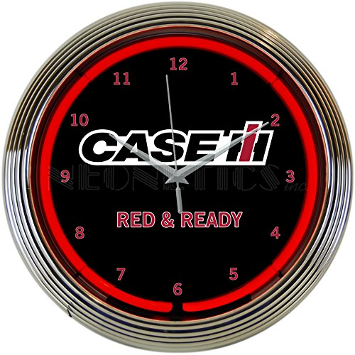 (Neonetics Case IH International Harvester Ready Clock 15 Inch Diameter with Chrome Rim and Red Neon – 8CASEC)