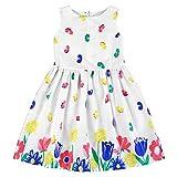 BOBORA Toddler Girls Dresses Cartoon Floral Dresses Kids Sleeveless Dress Size 1-6Years (5-6Years, White-B)