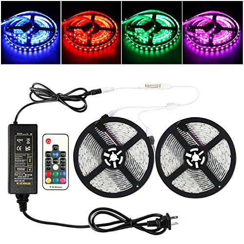 (RUICAIKUN 10M LED Light Strips Waterproof Flexible RGB SMD5050 150 LED Strips Kit with Remote and 12V Power Supply,RGB Strip for Party Holiday Home and Outdoor)