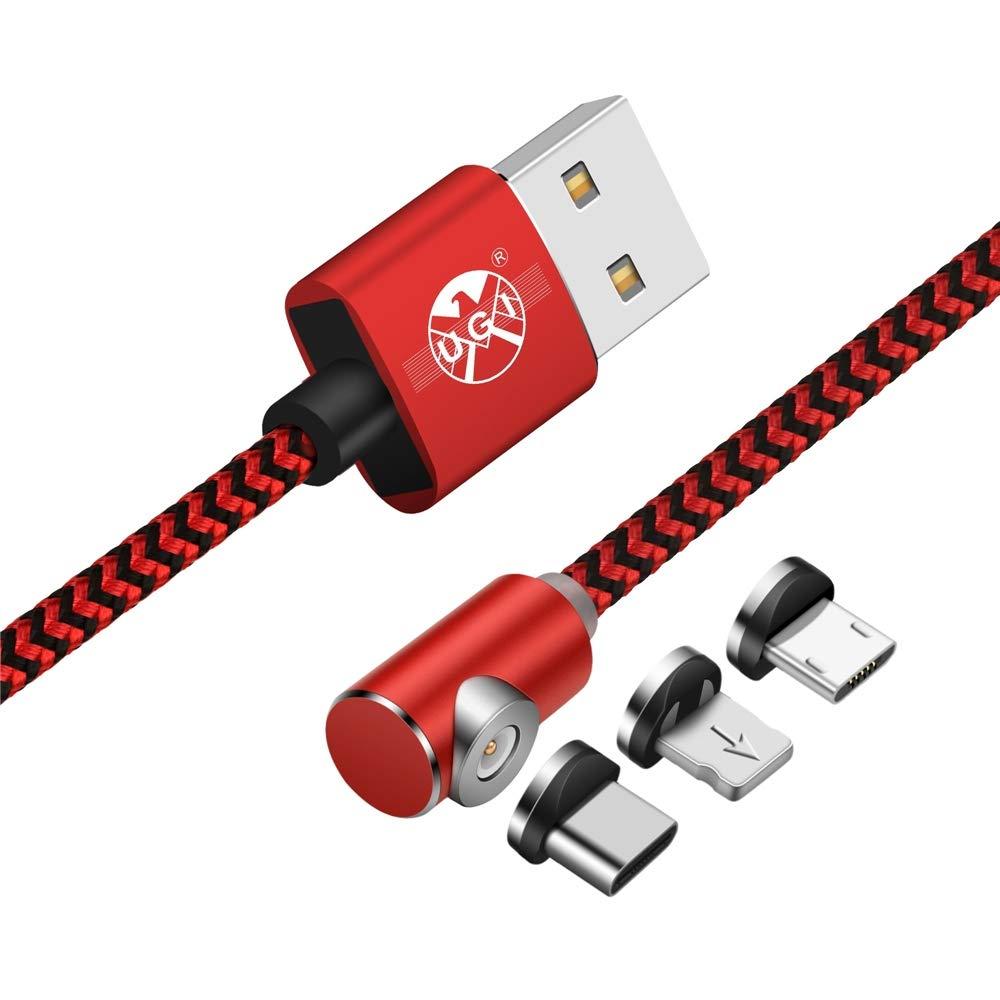 L Cable Cargador Tipo C USB C magnético Forma de L 90 Grados de ángulo Recto 3.3 pies/6.6 pies/10 pies Imán de Cable para el iPhone XR X,8,7,6 ...