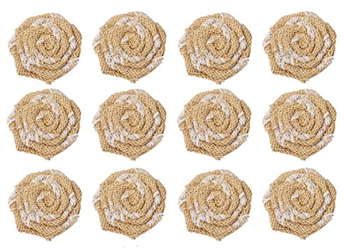 SL crafts (Pack of 12 pcs) Handmade Burlap Flowers Burlap Lace Roses Flowers DIY Findings Shabby Chic Flower