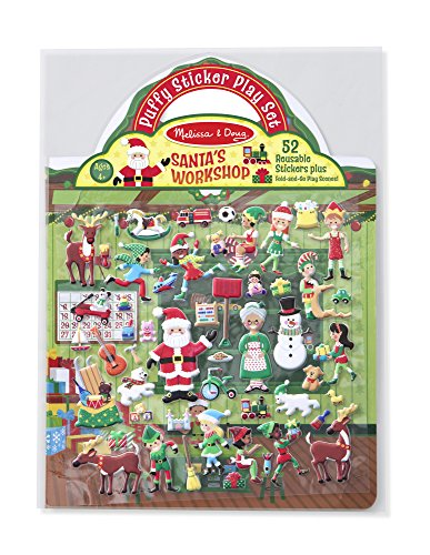 - Melissa & Doug Puffy Sticker Activity Book: Santa's Workshop - 52 Reusable Stickers