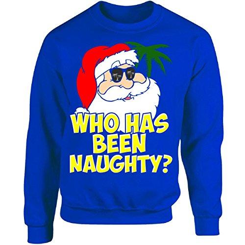 Who Has Been Naughty? Santa Claus - Adult Sweatshirt 4XL Royal -