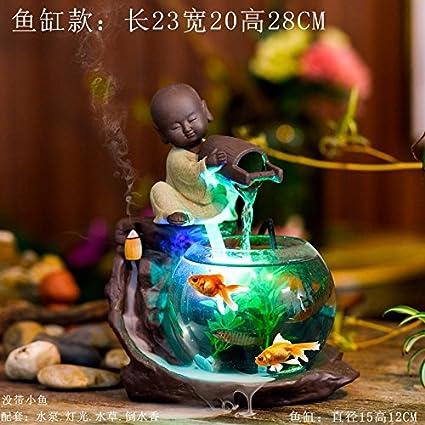Fuentes de agua ceramica Decoracion Acuario decoracion Decoracion Hogar humidificador Fengshui ronda shramanera adornos,Fish