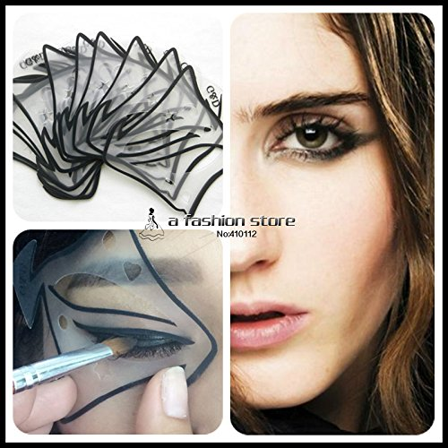 Winged Eyeliner Stencil Eyeliner Stencil - 7 style in 1 set Quick Makeup Cat Eyeliner Smokey Eyeshadow Drawing Guide Reusable Stencil for Classic Eye Liner Template - Wing Eyeliner Stencil]()