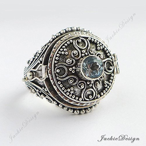 - Blue Topaz Size 8 Poison Ring Locket Bali 925 Sterling Silver JD139