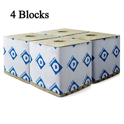 "Rockwool Blocks with Hole, 6""x 6""x 6"" Quick Drain Biggie Block, Rock Wool Cubes for Hydroponics, Stonewool Starter Cubes for Cuttings, Cloning, Plant Propagation, and Seed Starting, Case of 4 Sheet"