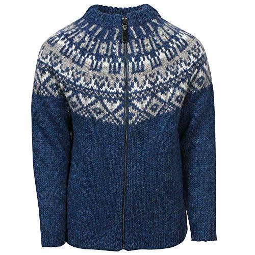 ICEWEAR Elmar Kid's Sweater Lopapeysa Design 100% Icelandic Wool Long Sleeve Crew Neck Winters Sweater with Full Zipper - Blue