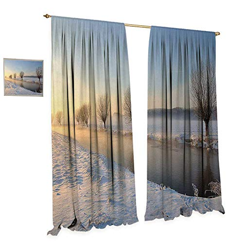 Anniutwo Winter Patterned Drape for Glass Door Snowy River Landscape Barren and Frosted Trees Dutch Netherlands Europe Photograph Waterproof Window Curtain W108 x L108 Multicolor