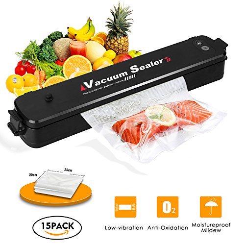 Vacuum Sealer,Welhunter Food Vacuum Packing Machine with Vacuum Hose Automatic Vacuum Sealing System With 15pcs Sealer Bags[Black]