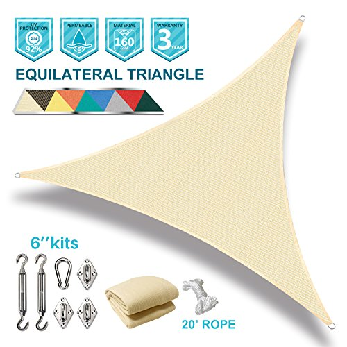 Coarbor 12 x12 x12 Triangle Sun Shade Sail with Hardware kit Perfect for Patio Deck Yard Outdoor Garden Permeable UV Block Shade Cover-Beige -Make to Order