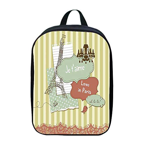 Paris College Backpack,Illustration of Famous Cultural French Icons with Eiffel Tower Love Paris for Picnic,One_Size