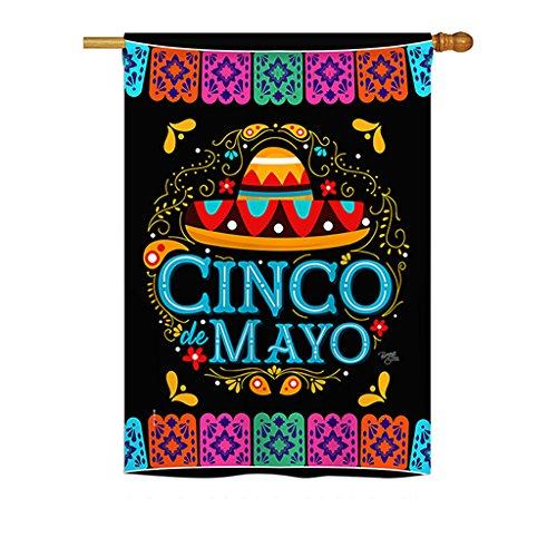Breeze Decor H115138 Picado Cinco De Mayo Country & Primitive Southwest Decorative Vertical House Flag, 28