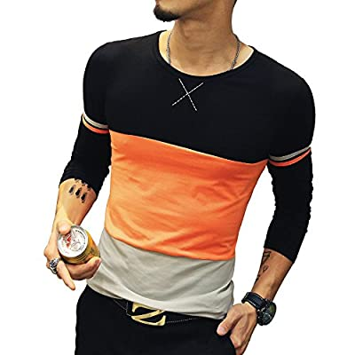 New 8sanlione Mens Short Sleeve/Long Sleeve Slim Fit Fitness Contrast Color T-Shirt Tops for cheap