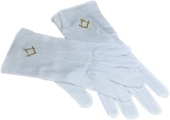 GTR-Prestige Giftware Junior Warden Masonic Design One Size Mens Plain White Cotton Gloves XLFG022