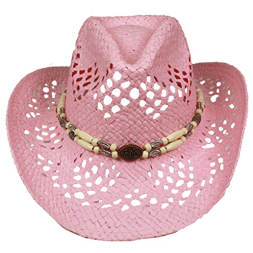 SILVERFEVER Silver Fever Ombre Woven Straw Cowboy Hat with Cut-Outs,Beads, Chin Strap (Pink, Beaded) (Hat Straw Beaded Pink)
