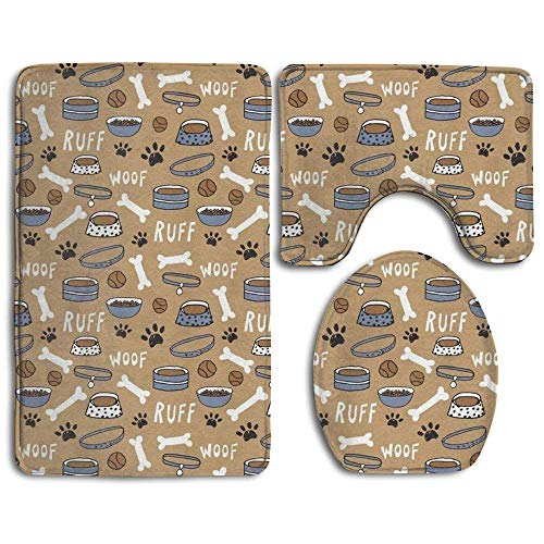BeautyToiletLidCoverABC Cute Dog Bone Bowl Woof Paw Bathroom Rug Mats Set 3 Piece Bath Rugs Contour Mat and Lid Cover -Perfect Combination of Luxury and Comfort