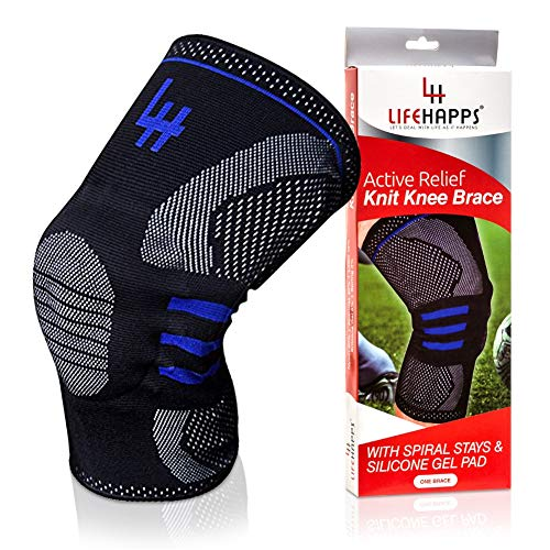 (Lifehapps Active Relief Knee Brace Gel Knee Support and Compression Sleeve with Side Stabilizers for Arthritis Joint Pain, Meniscus Tears, ACL, MCL Injuries, Exercise, Running (Black, 3XL))