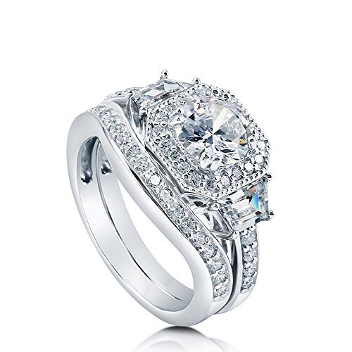 BERRICLE Rhodium Plated Sterling Silver Round Cubic Zirconia CZ Art Deco Halo Engagement Wedding Ring Set 2.21 CTW Size 4.5 ()
